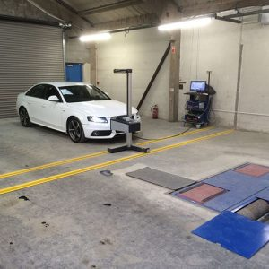 White Audi headlight alignment